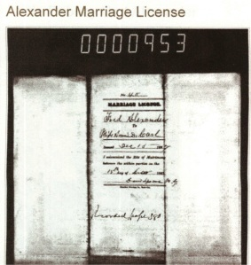 Marriage Certificate of Annie and Carl Alexander.  Certificate courtesy of Joyce Mullen.